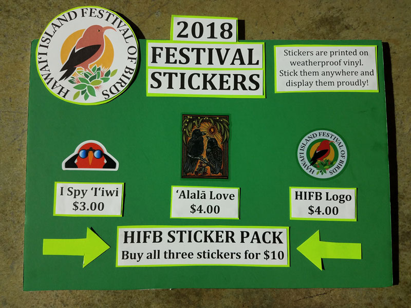 board displaying 2018 Festival Stickers for Sale